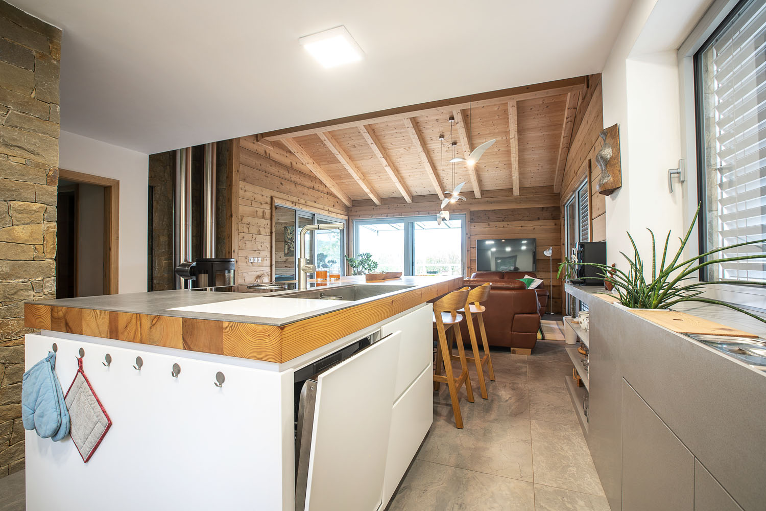 plan 3 kitchens / Weekend house in Osvetimany / Kitchen in the countryside